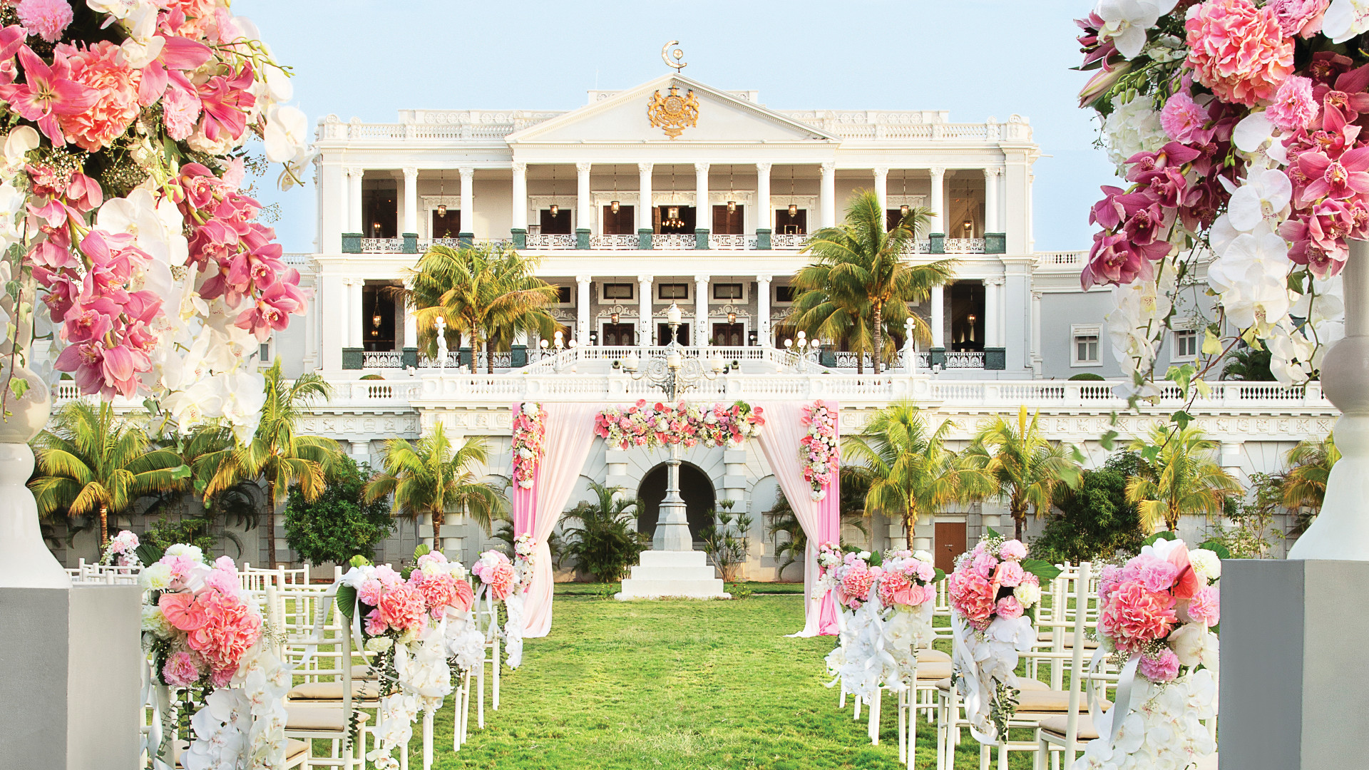 A wedding on the lawns at Taj Falaknuma Palace, Hyderabad