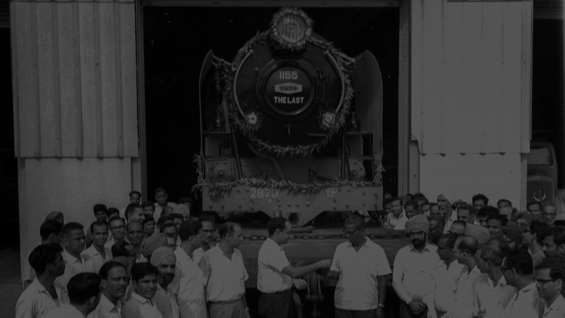Employees bid goodbye to the last locomotive